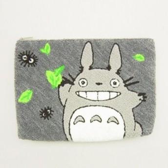 トトロ 相良刺繍ポーチ (フラットポーチ/小物入れ) 葉っぱ遊び (となりのトトロ) スタジオジブリ