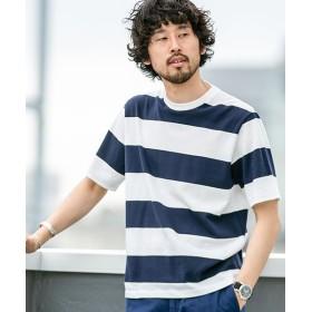 【40%OFF】 ナノ・ユニバース 梨地ワイドボーダーTシャツ 半袖 メンズ パターン1 S 【nano・universe】 【セール開催中】