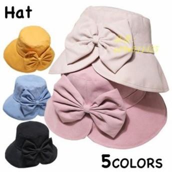 帽子 レディース つば広 紫外線 ハット おしゃれ 日よけ 無地 UVカット リボン付き