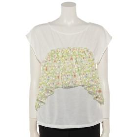 40%OFF Shelly island (シェリーアイランド) 【Marie Hill】刺繍ギャザー半袖カットソー ホワイト