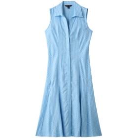 SALE 【30%OFF】 Brooks Brothers ブルックス ブラザーズ リネン ストライプ スパゴカラー ノースリーブシャツドレス アクア