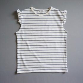 littlegenne ノースリーブボーダーTシャツ38ブルー