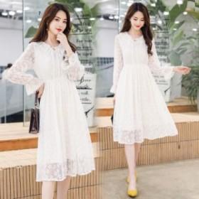 新しい女性の小さな新鮮な甘い妖精の韓國のレースのレースホワイトハイウエストドレス