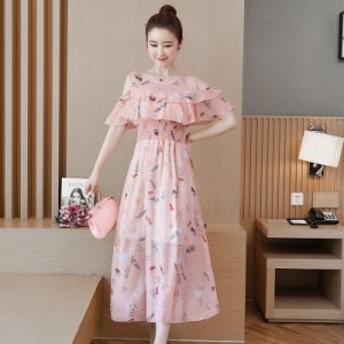 韓國の気質の長いセクションでシフォンドレスの女性の春と夏の新しい小さな花柄は薄いスーパーフェアリーストラップスカートでした