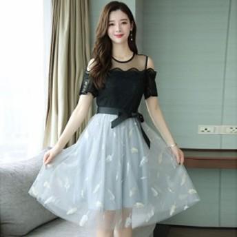 非常に妖精のフランスのニッチドレス女性の春の人気のある女性の新しいスタイルの肩のレースのスカートの夏