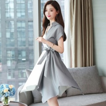 ファッションの冷たい風のドレス夏の新しい女性の韓國語バージョンは、細くて長い不規則なモザイクスカートでした