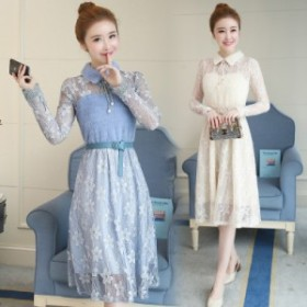 春の新しい韓國のファッションボトムレースのステッチ薄い襟ハイウエストの単語の長い袖の女性