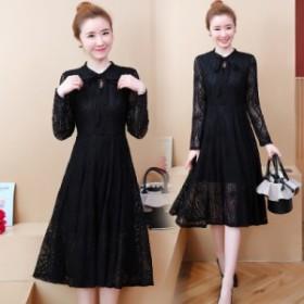 早春のレースのドレスの女性の新しい高貴な気質の長いセクションスリムベーススカート