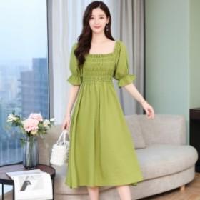 夏の新しい韓國のファッションスリムスリム気質バブルスリーブステッチグリーンのドレスの女性