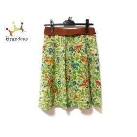 ホコモモラ ミニスカート サイズ40 XL レディース 美品 ベージュ×ライトグリーン×マルチ 花柄   スペシャル特価 20190906