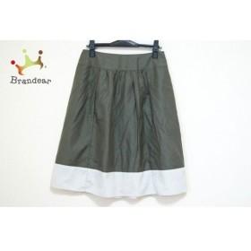 ジユウク 自由区/jiyuku スカート サイズ40 M レディース ダークグリーン×白   スペシャル特価 20190829