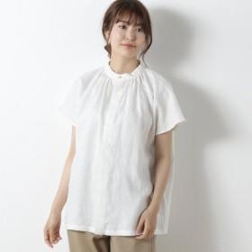 シャツ ブラウス レディース リネン100%のネックギャザーシャツ 「オフホワイト」