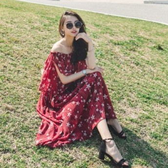 春と夏の新しい単語の肩の花柄プリントのドレスの女性の最初の愛のスカートのレトロなスカートの襟