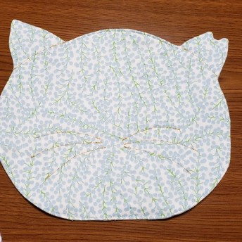 (4)『里親募集』 地域猫シリーズ 地域ネコランチョンマット1枚 桜耳 水色系
