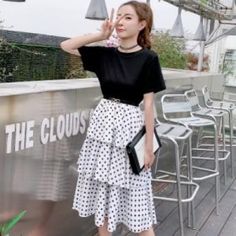 夏のフランスの女の子の気質ラウンドネック半袖ケーキスカート水玉模様の長いセクションスリムエイジングドレス