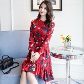 春の新しい韓國のファッション花柄スカートシフォンスリムスリムウエストゴムのドレスの女性