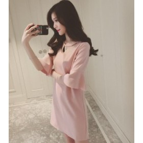 新しいファッションの女性の夏の蓮の葉の韓國語バージョンスリムスリムトランペットの袖の新しい長袖のスカートの単語