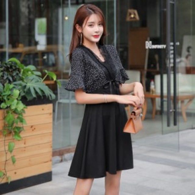 春と夏の気質小さな香りの小さな黒いスカートシフォンスリムツーピースドレスの女性