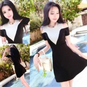 春と夏の韓國の黒と白のコントラストカラーのステッチ襟半袖ストラップレスのドレススリム薄いスカート
