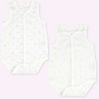 新生児 ロンパース2枚組 袖なし 前開き 鹿の子素材 ピンク インナー・パジャマ 新生児・乳児(50~80cm) ロンパース(60cm~) (99)