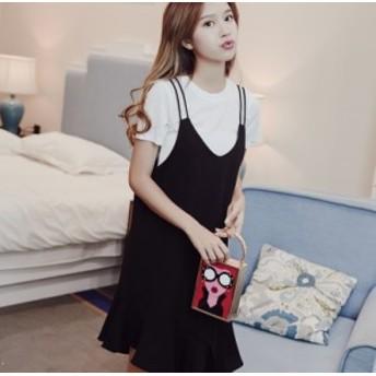 夏の新しい韓國の女子學生緩いスリムロングラウンドネックフリルストラップドレス