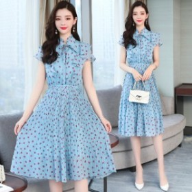 小さな新鮮なブルーフレンチレトロシフォン水玉模様の女性の夏の新しいスーパーファイアドレスロングスカート