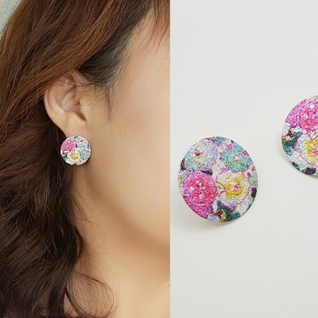flower pattern printing circle pierce, 花のピアス