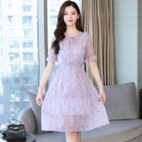 薄いメッシュスーパー妖精のロングスカートをステッチシフォン花柄のドレス夏の韓國のファッション