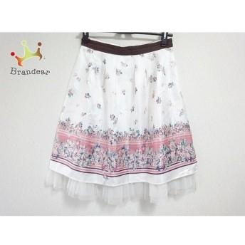 アプワイザーリッシェ スカート サイズ2 M レディース 美品 白×ピンク×マルチ 花柄 スペシャル特価 20190910