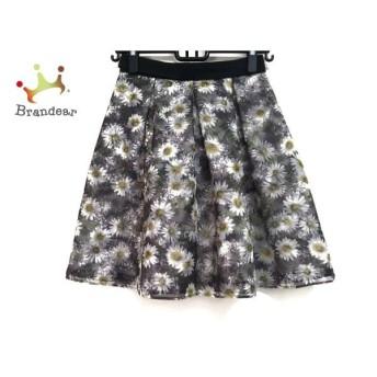 アプワイザーリッシェ スカート サイズ1 S レディース 美品 黒×白×イエロー 花柄 スペシャル特価 20190910