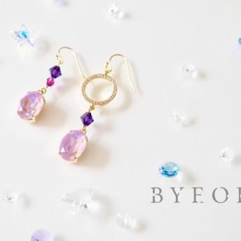 紫陽花アシンメトリー(紫)ピアス/イヤリング