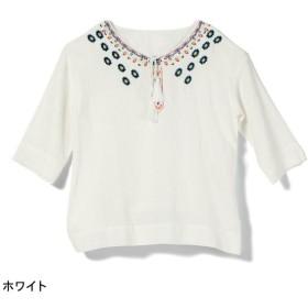 シャツ ブラウス レディース オーシャンパシフィック 刺繍入り7分袖プルオーバー 「ホワイト」