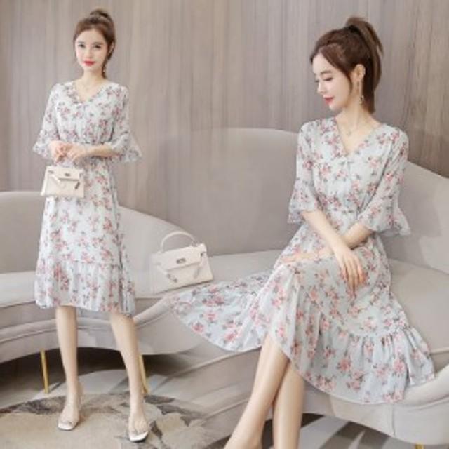 夏の新しい花シフォンドレスフレンチレトロファッションカラーの妖精のスカート巾著ウエストドレス