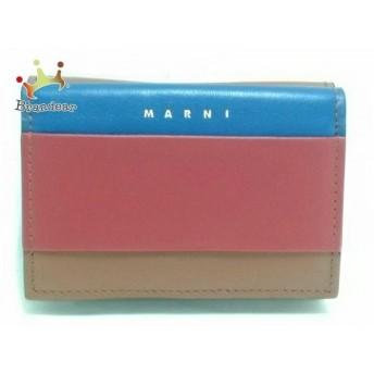 マルニ MARNI 3つ折り財布 ブラウン×レッド×ネイビー レザー 値下げ 20190914