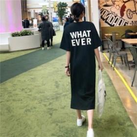 サイドスリット ロゴ Tシャツ ワンピース ゆったり 半袖 コットン ロング スリット ラウンドネック 春夏 無地 ブラック Z-10063