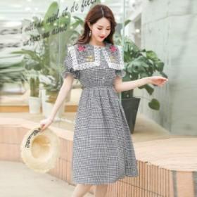 夏の新しいネイビーカラーのクリア新しい甘い刺繍カレッジスタイルのファッションミドル丈ドレス