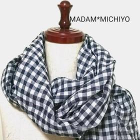 【送料無料】再販ふわふわ綿ローンのスカーフ コットン100オフ白×墨黒 プレゼントに!