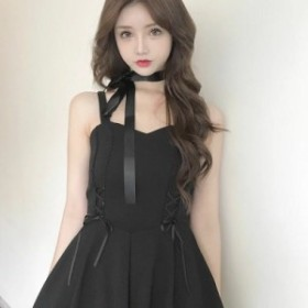 病みかわいい ブラック リボン ドレス