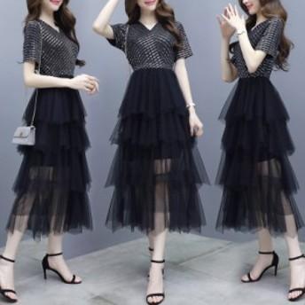 夏のドレスはスリム薄いステッチメッシュ不規則なケーキスカートの非常に妖精の小さなドレスの女性の韓國語バージョンです