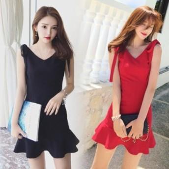 スリムなスリムノースリーブラインの夏の新しい韓國語バージョンは赤いハイウエストフィッシュテールドレスショートスカートを主導