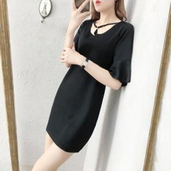 女性の夏の新しいトランペットの袖の緩い韓國語バージョンは、薄いラウンドネック妊娠中の女性の寶石類のドレス
