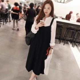 韓國の大學風のレトロスリム薄いスリム緩いサイドポケットストラップドレスの女性のドレス