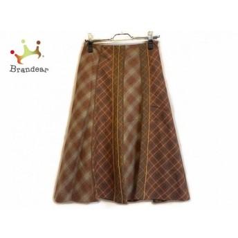 スキャパ Scapa スカート サイズ38 L レディース 美品 ブラウン×レッド×マルチ チェック柄 スペシャル特価 20190902