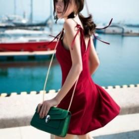 新しい夏のファッション赤いドレスの女性のサスペンダースカートセクシーなハイウエストショートスカートの単語のスカートバリビーチスカ