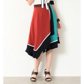 【ラブレス/LOVELESS】 【LOVELESS】WOMEN カラーブロックアシンメトリースカート