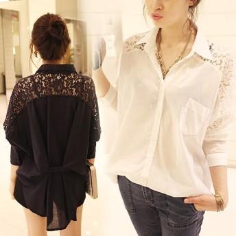 花柄レース刺繍シャツ シャツ ブラウス トップス レディース レース 刺繍 ゆったり 長袖 韓国ファッション