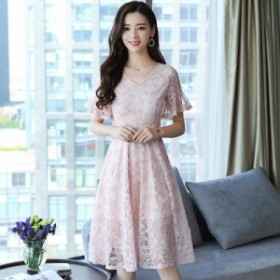 レースのドレスの春と夏の新しいファッションは、膝の襟ロングスカートの上に薄い気質でした