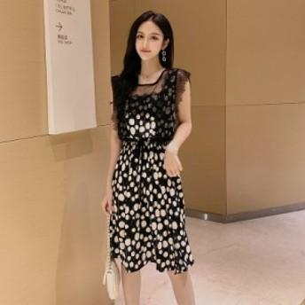 夏の新しい純赤い芽シルクスクリーンステッチスカート韓國のファッションスリムカラーシフォンドレスの女性