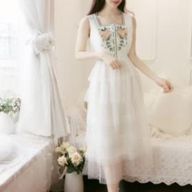 夏の新しいフランスの女の子の小さな新鮮な甘い牧歌的なスタイルの刺繍のドレスレトロなドレス