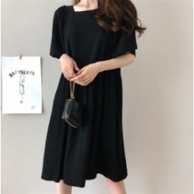 ゆったりしたシルエットで体型カバーOK♪リネンワンピース  リネン 麻混 半袖 ロング丈ワンピース 無地 韓国ファッション